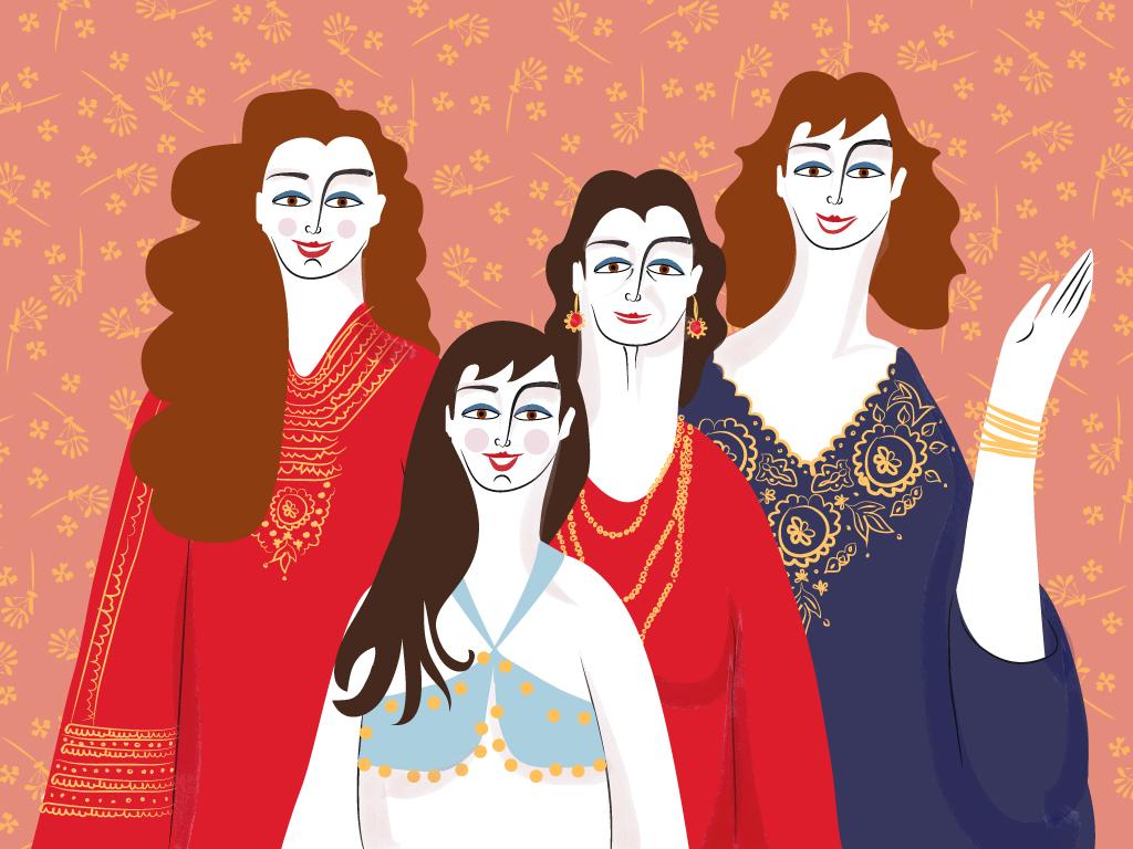 הלבוש המסורתי - כפתן. ולא, זאת לא גלביה מקסטרו. אני, אמי ובנותיי רותם וניצן. איור: נועה קליין